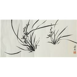 Rong Geng 1894-1983 Chinese Ink Orchid Paper Roll