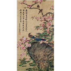 Dai Jin 1388-1462 Chinese Watercolor Flower & Bird