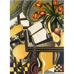 Oil Canvas Cubist Interior Scene Signed Illegibly