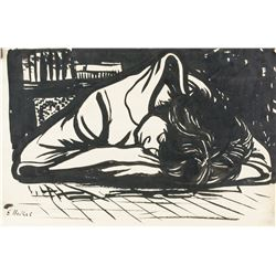 German Expressionist Ink on Paper Signed Illegibly
