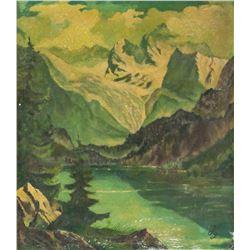 Oil on Board Landscape Artist Initialed Landscape