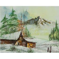 Oil on Board American Landscape Signed D. Eldon