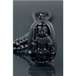 Chinese Black Hardstone Carved Acala Pendant