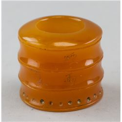"""Chinese Amber Carved Archer's Ring """"Yan Yun"""""""