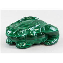 Chinese Malachite Stone Frog Statue