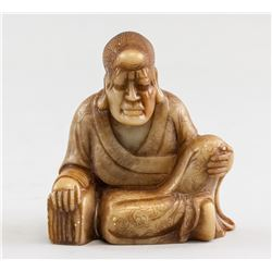 Chinese Shoushan Stone Carved Lohan Statue
