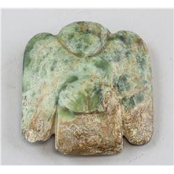 Chinese Archaistic Green Jade Bird Pendant
