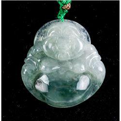 Chinese Green Jade Happy Buddha Pendant