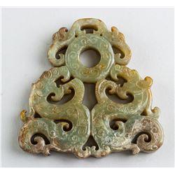 Chinese Han Style Green Jade Dragon Pendant