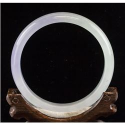 Chinese White and Lavender Jade Carved Bangle