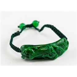 Chinese Spinach Green Jade Carved Dragon Bracelet