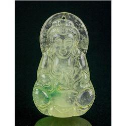 Burma Icy Yellow Jadeite Carved Guanyin Pendant