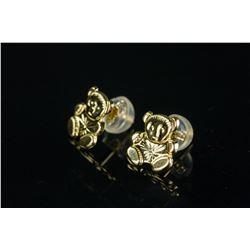 14K Gold Teddy Bear Earrings Retail $200
