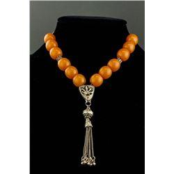 Chinese Amber & Silver Prayer Beads
