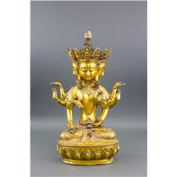 Chinese Gilt Bronze Eight-Arm & Four-Face Guanyin