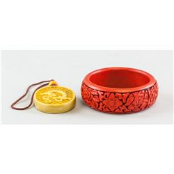 Two Assorted Chinese Lacquer Pendant and Bangle