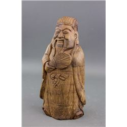 Chinese Old Bamboo Carved Scholar Statue