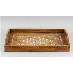 Wooden Tray with Inlaid Floral Pattern