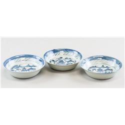 Three 18th C Chinese Blue & White Porcelain Plates