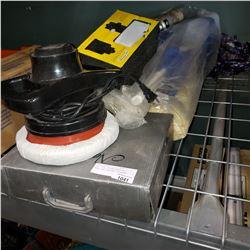 PLAY PEN, BUTANE STOVE W/ FUAL, AND ELECTRIC POLISHER