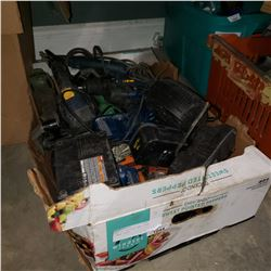 BOX OF CORDLESS AND OTHER POWER TOOLS