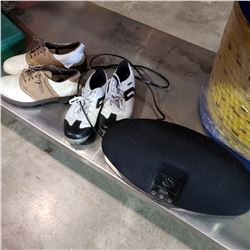 IPOD DOCK AND 2 PAIRS OF GOLF SHOES SIZE 8W AND 6