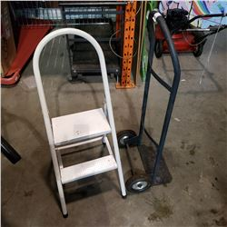 BLACK 2 WHEEL DOLLY AND 2 STEP STOOL