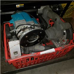 BASKET OF MAKITA ROUTER AND PORTER CABLE POWER TOOLS