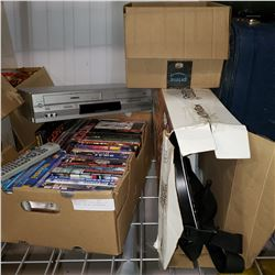 BOX OF DVDS, VIDEO GAMES, VHS PLAYER, AND WII ACCESSORIES