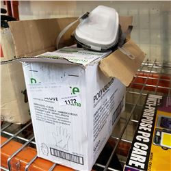 3M RESPIRATOR AND 3 BOXES OF POLY GLOVES