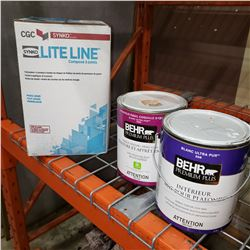 NEW BOX OF LITELINE DRYWALL COMPOUND AND 2 HALF CANS BEHR PAINT