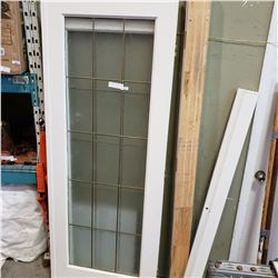 LEADED GLASS FRENCH DOOR W/FRAME