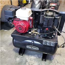 AS NEW PRO POINT HONDA ELECTRIC START 30 GALLON TWO STAGE TRUCK MOUNT AIR COMPRESSOR, 21CFM @ 90 PSI