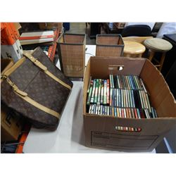 BOX OF CDS, DVDS, PURSE AND 2 LAMPS