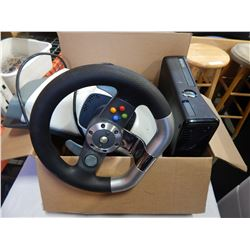 XBOX 360 CONSOLE AND STEERING WHEEL