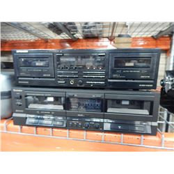 PIONEER CT-W450R AND TECHNICS RS-TR157 DUAL CASSETTE DECKS, AND MIX LOT OF CASSETTES, CDS, DVDS
