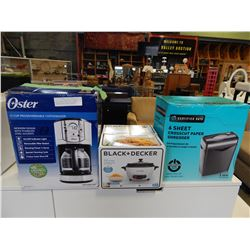 BLACK AND DECKER RICE COOKER AND 6 SHEET CROSS CUT PAPER SHREDDER AND OSTER COFFEE MAKER