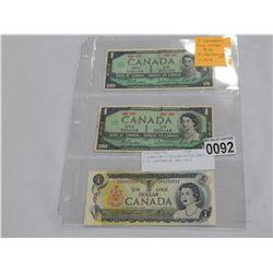 3 CANADIAN 1 DOLLAR BILLS 1967 X 2, CENTENNIAL AND 1973