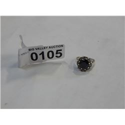 STERLING SILVER LADIES DINNER RING WITH BLACK STONE