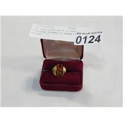 14K GOLD RING WITH 3 SEMI PRECIOUS STONES 9 GRAMS TOTAL WEIGHT