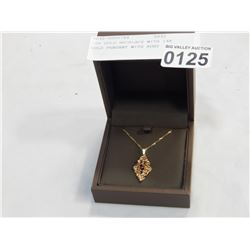 10K GOLD NECKLACE WITH 14K GOLD PENDANT WITH RUBY