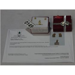 10KT YELLOW GOLD .72CT CZ EARRINGS AND PENDANT W/ APPRAISAL $1605