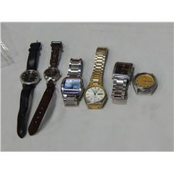 LOT OF SIX BRAND NAME LOST PROPERTY WATCHES SEIKO AND BULOVA ETC