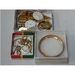 3 TRAYS OF GOLD TONE JEWELLERY, POCKET WATCHES, ETC