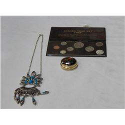 COLLECTABLE COINS, SMALL CLOISONNE STYLE BOX AND NECKLACE