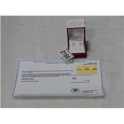 10KT WHITE GOLD 6mm GENUINE .92CT OPAL STUD EARRINGS W/ APPRAISAL $400