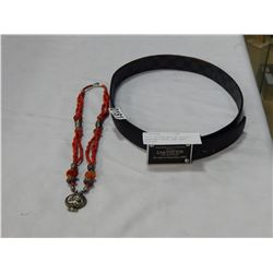 LOUIS VUITTON BELT W/ BUCKLE - UNAUTHENTICATED, AND CORAL NECKLACE