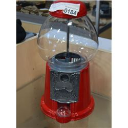 VINTAGE RED GUM BALL MACHINE W/ GLASS DOME