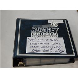BINDER OF 500+ HOCKEY STAR, INSERT, ROOKIE CARDS APPROX VALUE, $2000-2500