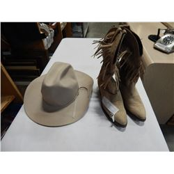 CHRIS EDDY COWBOY HAT AND SIZE 8-1/2 BOOTS